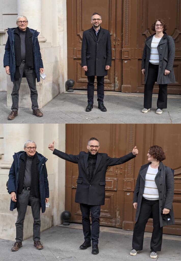 Les trois derniers présidents de l'AFJA, de gauche à droite : Erik Massin, Adrien Cahuzac, Nicole Ouvrard.